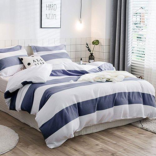 Lausonhouse Garn gefärbt 100% Baumwolle Bettwäsche-Set - 155x220 (Fleece Gefärbt Aus)