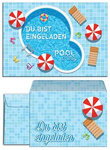 JuNa-Experten 12 Einladungskarten incl. 12 Umschläge zum Kindergeburtstag Schwimmbad Party / Pool Party / schöne und Bunte Einladungen / Umschläge (12 Karten + 12 Umschläge)