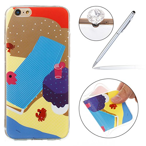 Felfy Case iPhone 6S Silicone,iPhone 6S Coque Transparente,iPhone 6 Coque Anti Choc Doux TPU Silicone Etui Housse avec Flamant Papillon Fille Motif Ultra Mince Transparent Crystal Clair Coque de Prote Plage