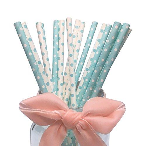 Papier-Trinkhalme mit blauen und weißen Punkten, dekorierte Partyartikel und Partyzubehör, Trinkpapier-Strohhalme, 19,7 cm, 100 Stück