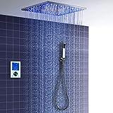 ONLT Set Doccia, 495x495 mm Sistema di Doccia Termostatico LED Multifunzione, Spray SPA, Modalità Pioggia, 304 Acciaio Inossidabile, Monitor Tattile Digitale Intelligente,Colonna doccia
