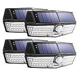Mpow Luz Solar IP66 Impermeable, Iluminación de 270º, Sensor de Movimiento de 120°, Lámpara Solar de Pared Brillante para Jardín, Entrada, Patio, Garaje (4 Piezas)