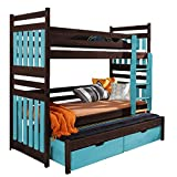 Triple Bunk Bed SAMBA Modern Trundle High Sleeper Mattress Drawers Ladder 3 Children Pine Wood