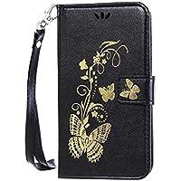 Qissy® PU Custodia iPhone 7 Piedi la Vista Diario Custodia Copertura di Vibrazione Portafoglio Flip Cover farfalla d'oro