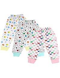 Littly Unisex 100% Pure Cotton Baby Pyjamas Lowers for Kids Toddlers, Pack of 3 (White)