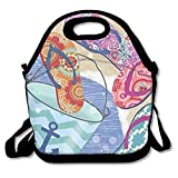 DRVLTY Lunch Boxes Paint Party Flip-Flop Lunch Tote-Personalized Lunch Bags