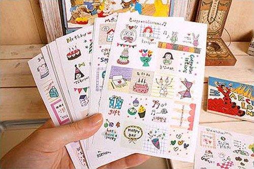 Satz von 16 Blatt / 320 Stücke Deco Craft Aufkleber Tagebuch Papier Aufkleber Scrapbooking Geschenk