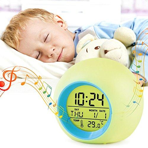 ZZM Kinder-Wecker, Wake-up Light Wecker Digital-Display Modell 7Kinder, Natur, Nachttisch, Nachtlicht, mit Farbwechsel bei Temperatur- und Kalender, für Mädchen Jungen, Geschenk