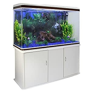 MonsterShop – Aquarium Blanc de 300 Litres, Kits et Accessoires de Démarrage, Plantes, Graviers Bleu, Meuble Blanc, d'une dimension totale de 143,5 cm de Haut x 120,5 cm de Large x 39 cm de Profondeur