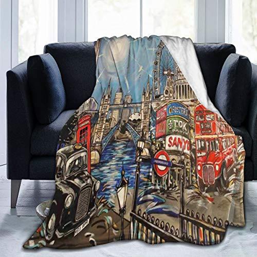 London Landscape Sherpa - Manta de Forro Polar para sofá o Cama,...