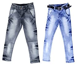 fourgee Boys Regular Fit Jeans - Combo Pack of 2 (008-17, Blue and Grey, 12-13 Years)
