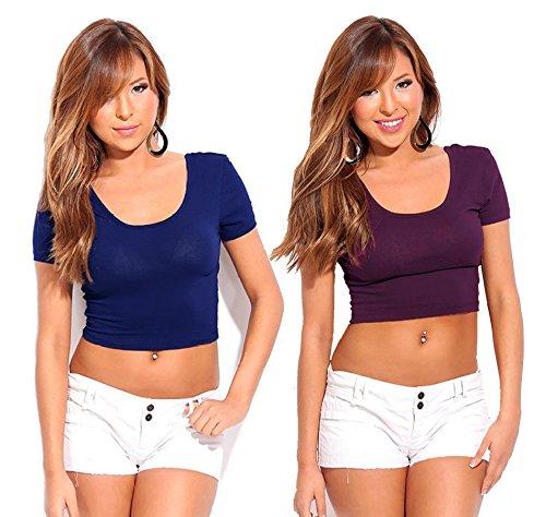 Fashion Line Cotton Lycra Crop Tshirt for Girls/Women (Navy & Purple, Pack of 2)
