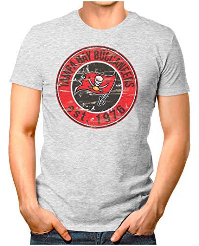 OM3® - Tampa-Bay-Badge - T-Shirt   Herren   American Football Shirt   L, Grau Meliert