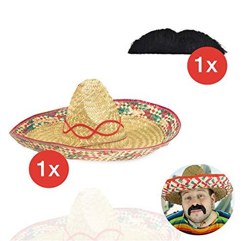 TK Gruppe Timo Klingler Sombrero Mexikaner Set Kostüm Fasching Karneval mit Sombrero Hut Verkleidung mit Schnurrbart Bart Schnauzer selbstklebend mit Sombrero Cowboy für Herren und Damen