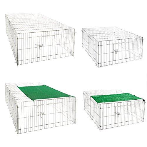 Freilaufgehege Hasen Auslauf Freigehege Kaninchen Nager Freilauf Sonnenschutz (Freigehege XL)