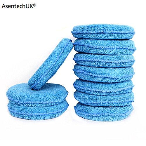AsentechUK® Weiches Mikrofaser-Autowachs-Applikator Pad Polierschwamm zum Auftragen und Entfernen von Wachs, Auto-Pflege, 5 oder 10 Stück zur Auswahl. blau