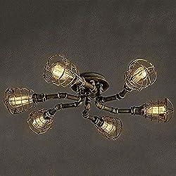 L Yang SuspensionCreative rétro 6-lumière luminaire Lustre Vintage en métal Semi-encastré Montage Suspension avec Finition Peinte pour Cuisine Salle à Manger