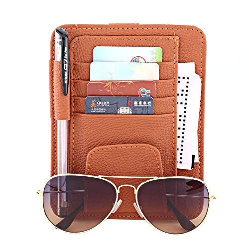 Keenso Multifunktions Auto Sonnenblende Veranstalter Karte Lagerung Gläser Halter Clip Tasche Tasche Hängen Halter PU Leder(Orange) Orange-halter