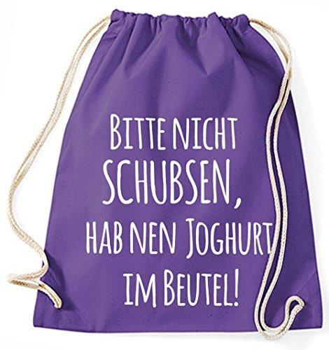 Jutebeutel Turnbeutel Sportbeutel Stofftasche Baumwolltasche Tasche Rucksack Gymsack Bitte nicht schubsen, hab nen Joghurt im Beutel! (Navy) Lila