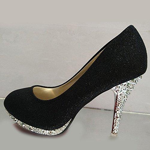 XINJING-S Bowknot Tacchi Alti scarpe matrimonio partito donne tacchi pompe OL vestono scarpe Sandali Nero 10cm