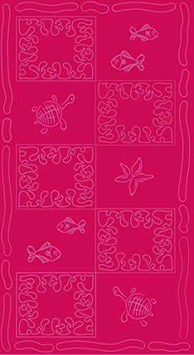 SERVIETTE DE PLAGE EN VELOURS - TAILLE XXL 100x200CM PUR COTON - MOTIFS POISSONS TORTUES (Fuchsia)