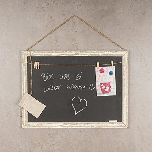 Memotafel Memoboard 55x40cm Tafel Wandtafel aus Holz in weiß gewischt mit Klammern & Kordeln zum Hängen - Landhaus Vintage Shabby Kreide Kreidetafel Küchentafel Wäscheklammer - 3