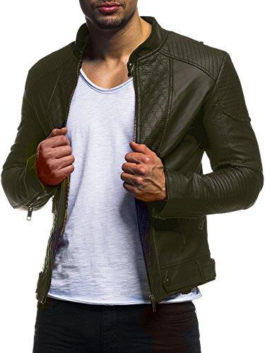 LEIF NELSON Pour des hommes veste similicuir Biker Geteppt Slim Fit Modern loisir Khaki LN516 ; Taille M,