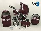 Kombikinderwagen 3in 1BORDEAUX und rosa mit Kinderwagen + Babyschale + Autositz + Wickeltasche + Gratis Sonnenschirm