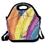 FutongHuaxia Colourful Feather Easy Outdoor pranzo lunch box borsa termica per il pranzo della borsa per il pranzo, picnic per scuola lavoro ufficio, regalo per le donne, Nero, taglia unica