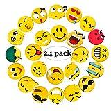 Kühlschrank-Magnete, 24Stück Emoji-Kühlschrank-PV- Magnete, für Whiteboards, Büro, Küche, als Einweihungsgeschenk, PVC, multi, 4.5cm in diameter and 4mm in thickness