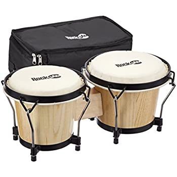 World Rhythm Bongo Drums in Natural Finish - Wooden Bongos for