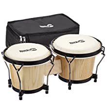 """RockJam RJ-100300 7"""" and 8"""" Bongo Set with Padded Bag and Tuning Wrench Natural"""