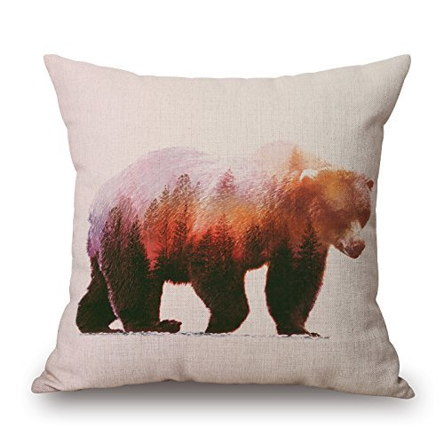Harry wang Nordic Simple Ink Painting Watercolor Animals Adorable Throw Pillow Case Cushion Cover Home Office Decorative Square Bear,45x45cm (Bed Buddy Bear)
