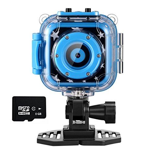 Kids Caméra Sport Action Cam,Ourlife Caméra de Sport pour Enfants Avec Enregistreur Vidéo Comprend une carte mémoire de 8 Go (Bleu)