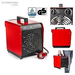 TROTEC Elektroheizgebläse TDS 29 E (max. 5 kW), Integriertes Thermostat, 2 Heizstufen, Kondensfreie Wärme – kein Sauerstoffverbrauch – deshalb optimal zur Innenraumbeheizung geeignet