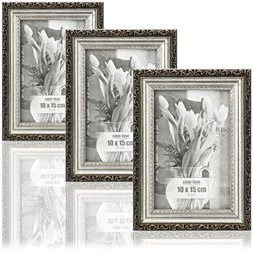 com-four® 3X Bilderrahmen Antik für die schönsten Fotos - Stilvoller Fotorahmen - Rahmen für Lieblingsbilder und Schnappschüsse