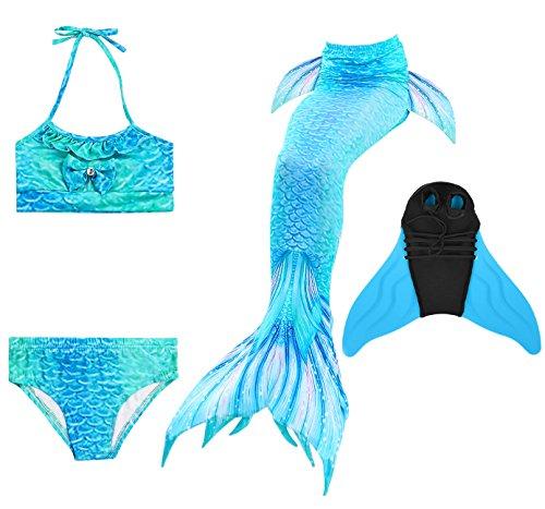 Decstore 4PCS Mädchen Badeanzug Meerjungfrau Schwanz Bademode Bikini-Set Kostüm für Schwimmen mit Monoflosse(Ocean Blue 120+blue - Blue Mermaid Kostüm