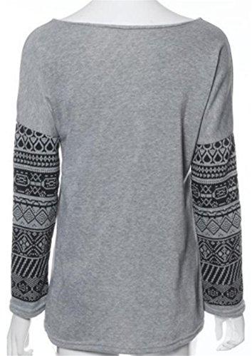 BESTHOO T-Shirt Donna Girocollo Maglietta Manica Lunga Allentato Camicetta Stampate Top Casuale Partito Per Le Donne Grey