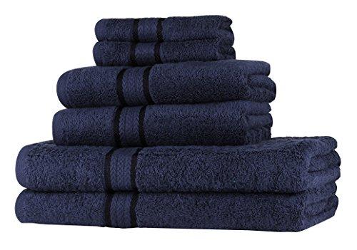 Set asciugamani morbidi sweet needle super soft 6 pezzi navy, 100% cotone, peso pesante con rifiniture in rayon - 2 grandi asciugamani da bagno 70x140, 2 asciugamani 50x90, 2 salviette 30x30 cm