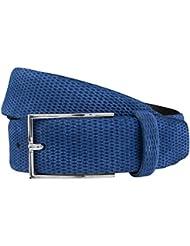 STRELLSON ceinture hommes ceinture en cuir cuir velour bleu