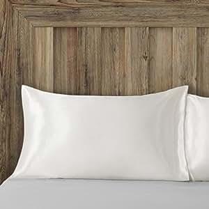 Bedsure Satin Kissenbezüge 40 x 80 cm Beige - 2 Stück Kopfkissenbezüge aus hochwertige Mikrofaser für Haar- und Hautpflege