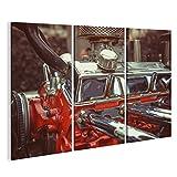 islandburner Bild Bilder auf Leinwand Close up Motor von Oldtimer-Retro-Oldtimer Detaillierte Motorteile. Wandbild, Poster, Leinwandbild KYH