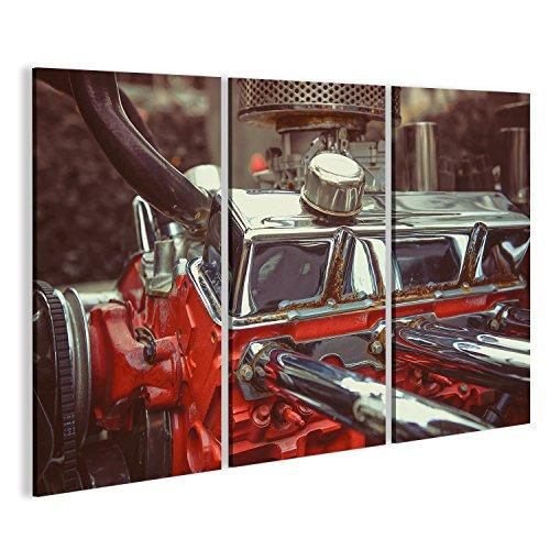 islandburner Cuadro Cuadros Close up Motor de Piezas de Motor detalladas Vintage Retro Coche Clásico. Sobre Lienzo Formato Grande Listo para Colgar estupendo