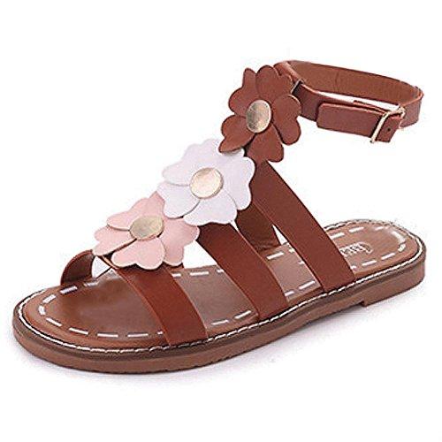 Webla Damen Sommer Sandalen Schuhe Peep-Toe Low Schuhe Römische Sandalen Damen Flip Flops Braun