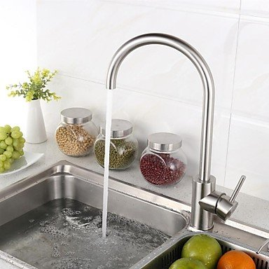 SHUYOU® Contemporary 304 Stainless Steel Single Handle Brushed Chrome Finish Kitchen Faucet