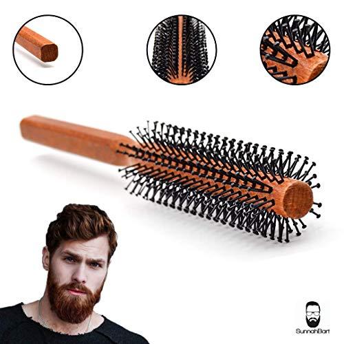 Männer Rundbürste für den Bart und kurze Haare 35 mm Ø | Bartbürste für den Mann | Föhnbürste mit speziellen Noppen | rund Haarbürste aus Holz