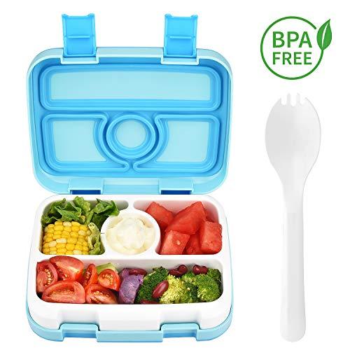DeYoun Bento Box, Kinder Brotdose mit 4 Unterteilungen I Kinder Lunchbox mit Fächern I Auslaufsicher I Silikondichtung BPA Frei I Geruchs- und Geschmacksneutral Ideal für Schule, Picknicks, Reisen