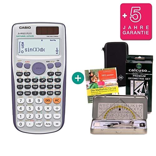 Streberpaket: Casio FX 991 ES Plus + Schutztasche + Lern-CD (auf Deutsch) + Geometrie-Set + Erweiterte Garantie