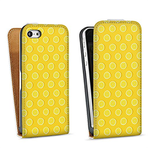 Apple iPhone 5 Housse étui coque protection Citrons Été Fruits Sac Downflip blanc