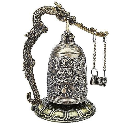 Cloche Costume Bottom - Alliage Dragon sculpté bouddhiste Bell avec serrure